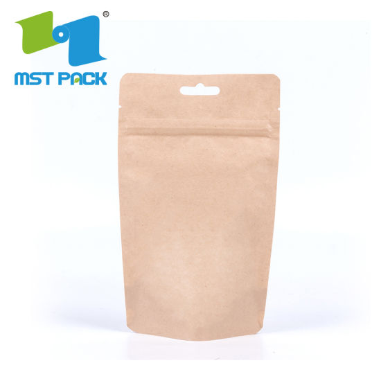 Eco Craft Paper Zipper Stand up Pouch Cornstarch Bio Degradable Bolsa de plástico con ventana