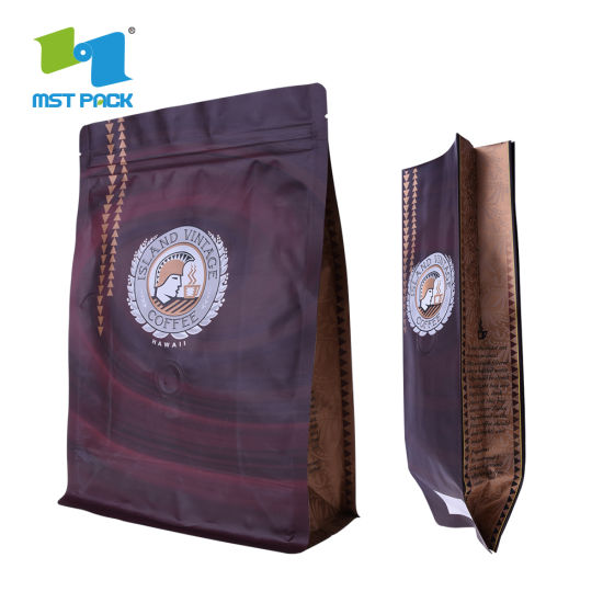 Venta al por mayor Compostable Customized Flat Bottom Side Gusset Compostable One Way Valve Ziplock Biodegradable Coffee Bag Packaging
